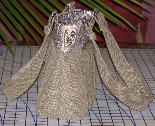 Linen Safari Handbag (side view)
