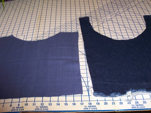 Layout of denim and linen fabric