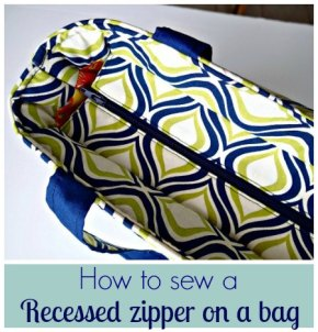 Sewing Tip- Tutorial on how to sew a recessed zipper on abag