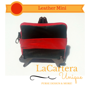Black and Red Leather Mini Clutch