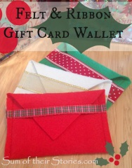 Gift Card Wallet Tutorial - http://www.sumoftheirstories.com/2015/10/felt-envelopes-for-gift-cards.html