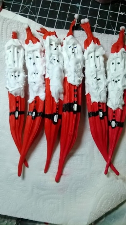 Santa's Painted on Okra - Fan Posted on LaCartera Facebook Page
