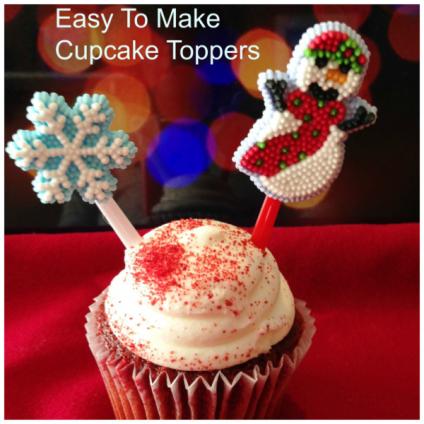 Easy Cupcake Topper - https://starrcreative.wordpress.com/2015/11/28/easy-christmas-cupcake-toppers/