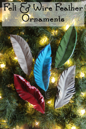 Crafty Staci Felt & feather Wire Ornaments - http://craftystaci.com/2015/11/25/felt-and-wire-feather-ornaments/