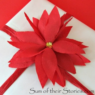 Easy Paper Napkin Poinsettias - http://www.sumoftheirstories.com/2015/12/easy-paper-serviette-poinsettias.html