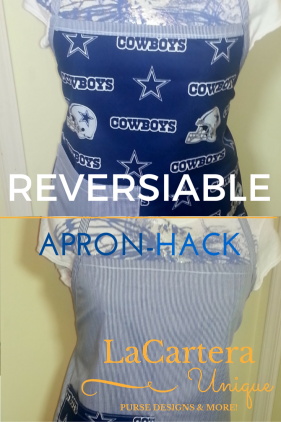 Apron Hack Tutorial - https://lacarteradesigns.com/2016/01/25/reversible-apron-hack/