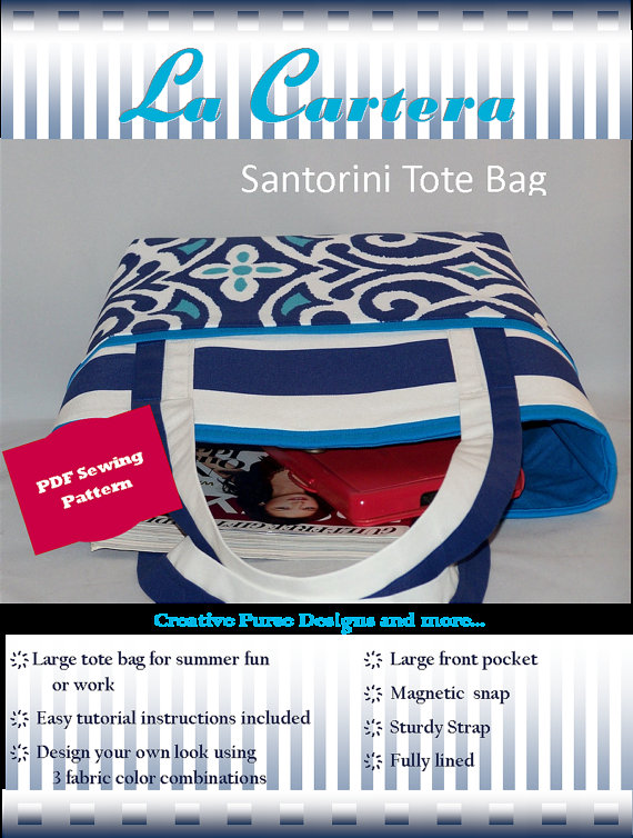 Santorini Tote Bag - http://www.lacarteradesigns.com/listing/155420016/pdf-sewing-pattern