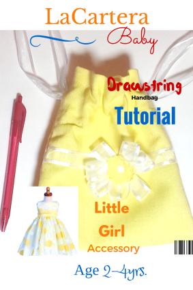 Little Girls Drawstring pouch - https://lacarteradesigns.com/2016/03/24/little-girls-drawstring-handbag-tutorial/
