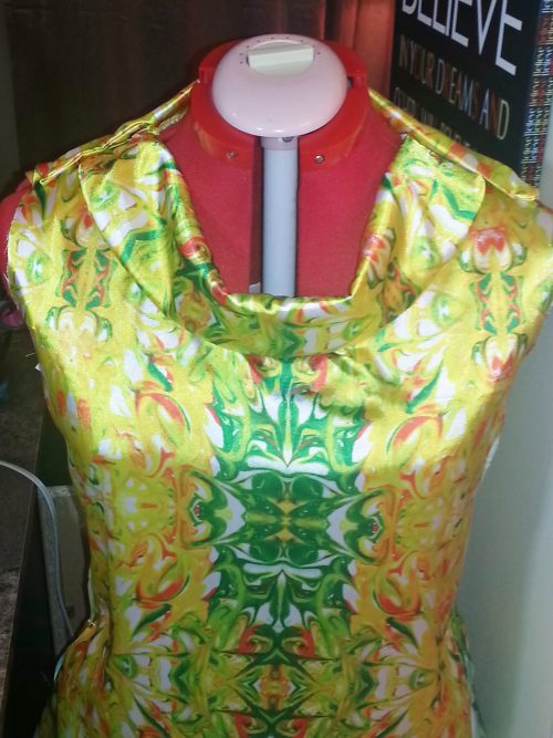 "Satin blouse ""Golden Marble Fields"" fabric"