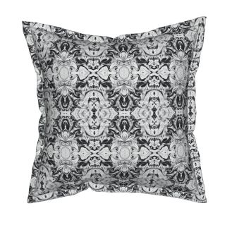"Serama-Square Throw Pillow With Flange Detail and Insert, 19"" X 19"" - https://www.roostery.com/p/serama-flanged-throw-pillow/5407302-vintage-filigree-by-lacartera"
