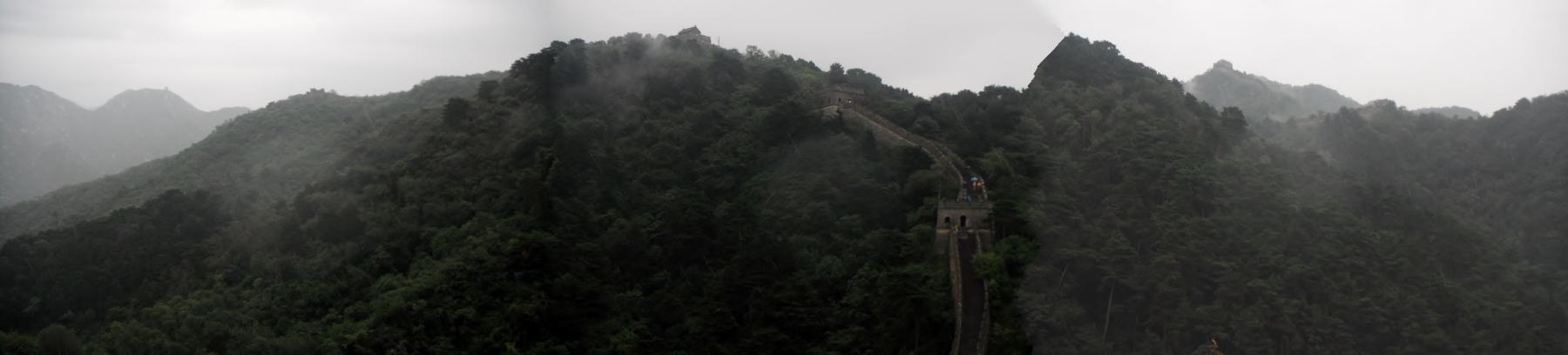 panoramic view around the Great Wall of China in Mutianyu