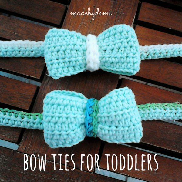 Crochet Bow Ties for Toddlers by Made by Demi - https://madebydemi.wordpress.com/2016/07/07/bow-ties-for-toddlers