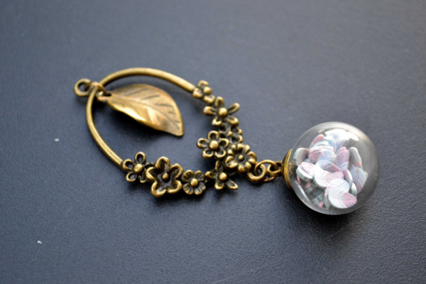 Glass Globe Pendant Necklace by Serendipidiy - https://serendipidiy.wordpress.com/2016/10/18/glass-globe-pendant-necklace-with-feather-polymer-clay-canes