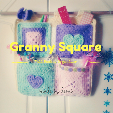 Granny Square Wall Pocket Organizer -made by Demi -https://madebydemi.wordpress.com/2016/09/05/granny-square-wall-pocket-organizer/