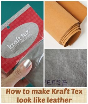 How to Make Kraft Tex look like Leather - by Myra at So Sew Easy - http://so-sew-easy.com/kraft-tex-leather-fabric/