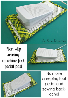 Sewing a Non-slip Sewing Machine Foot Pedal pad - by So Sew Easy - http://so-sew-easy.com/non-slip-sewing-machine-foot-pedal-pad/#