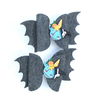 Pair of Ghostly Blue Witch Bows with Bat Wings