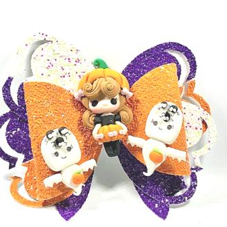 Spooky Pumpkin Bow