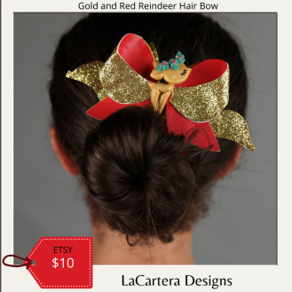 Green and Red Reindeer Bow